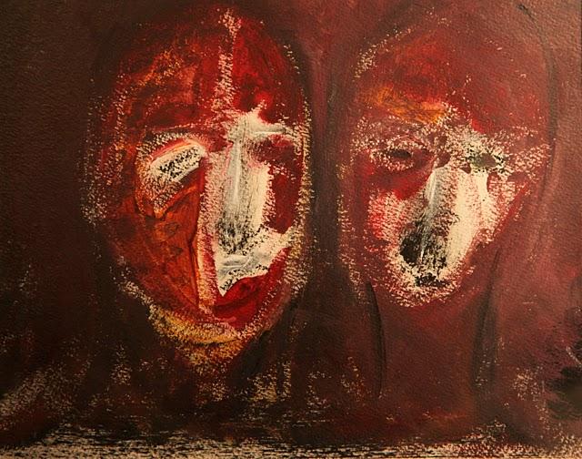 Deux tetes (acrylique) 2010