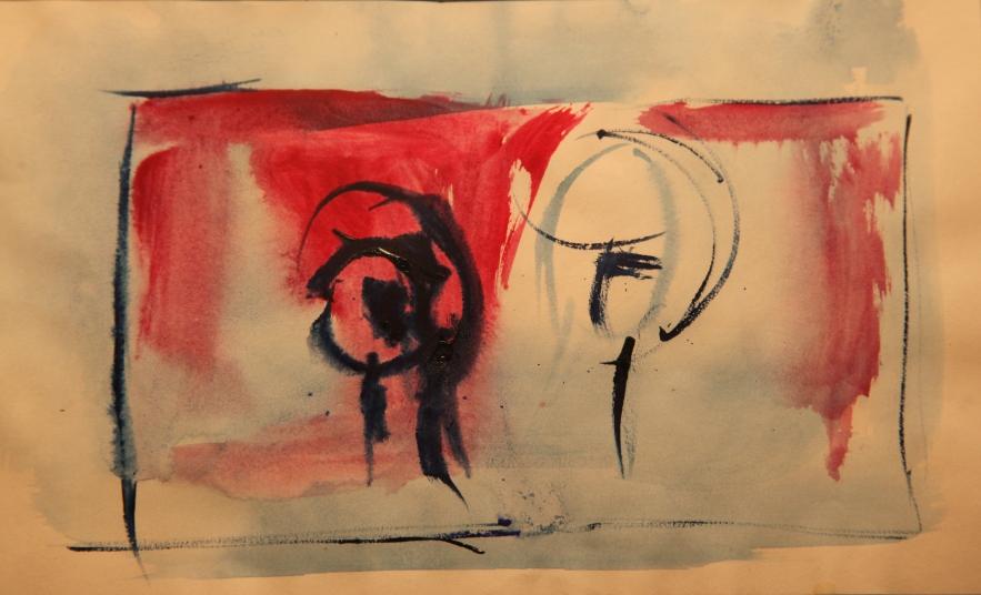 Deux tetes (encre et gouache) 2010