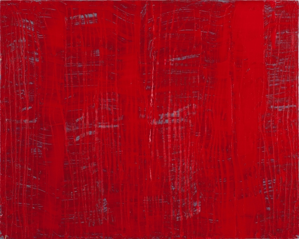 Verticals on Wood Red 2012 16x20 in