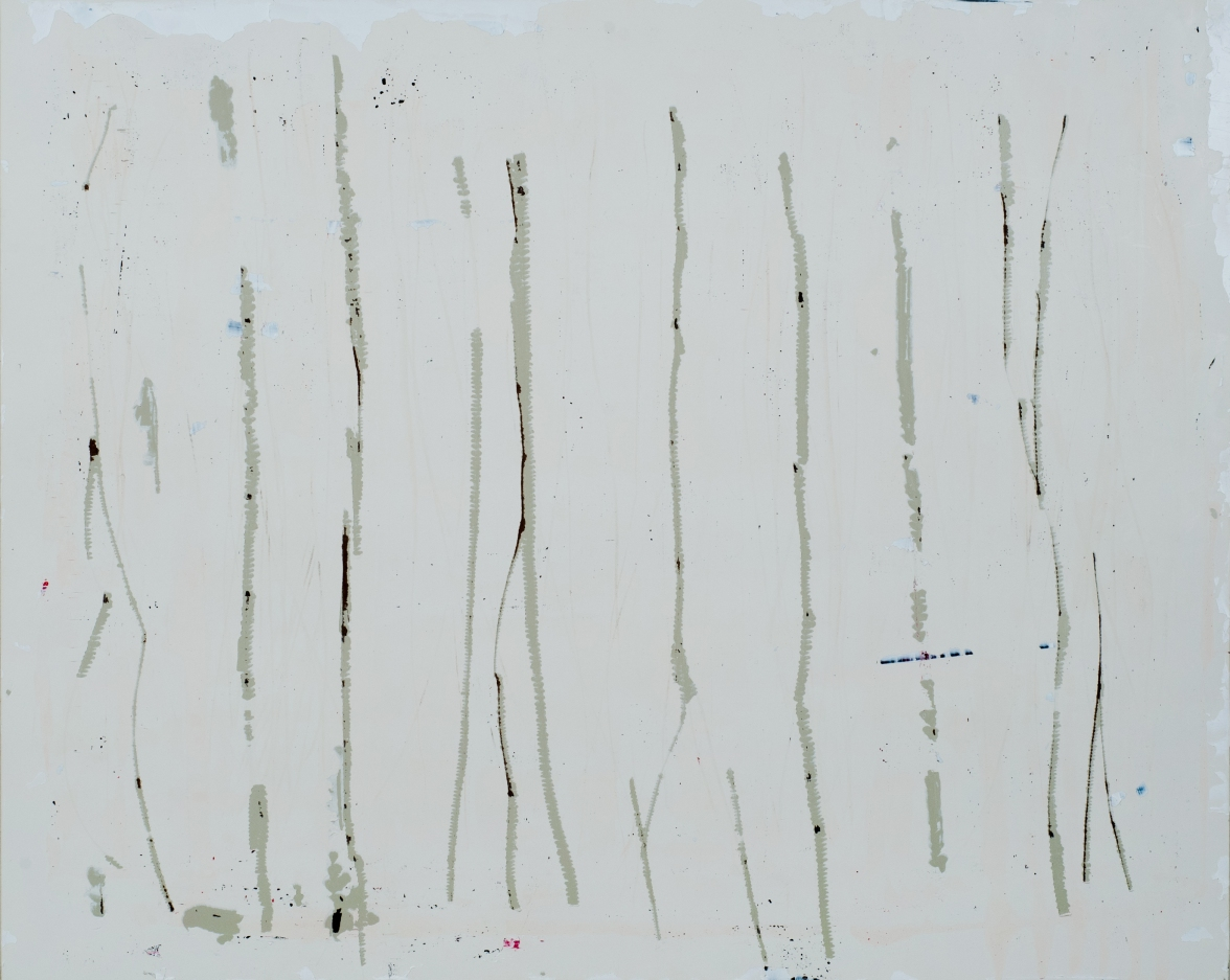 Verticals on Wood White 2013 16x20 in
