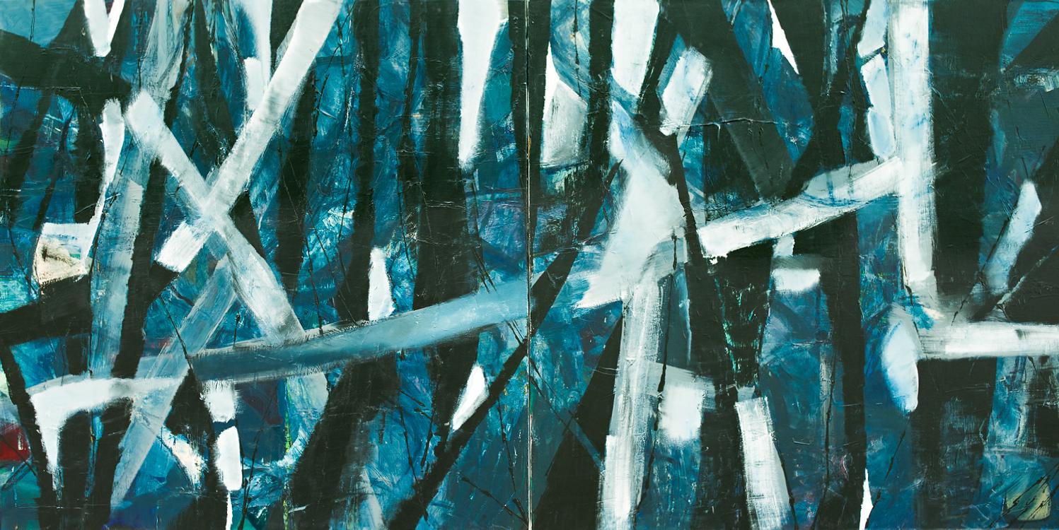 Kline of Blue 2016 diptych 2x60x60 in
