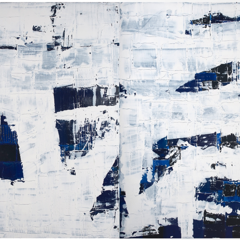 WoBLUE #2#3 Diptych 2x36x48 in