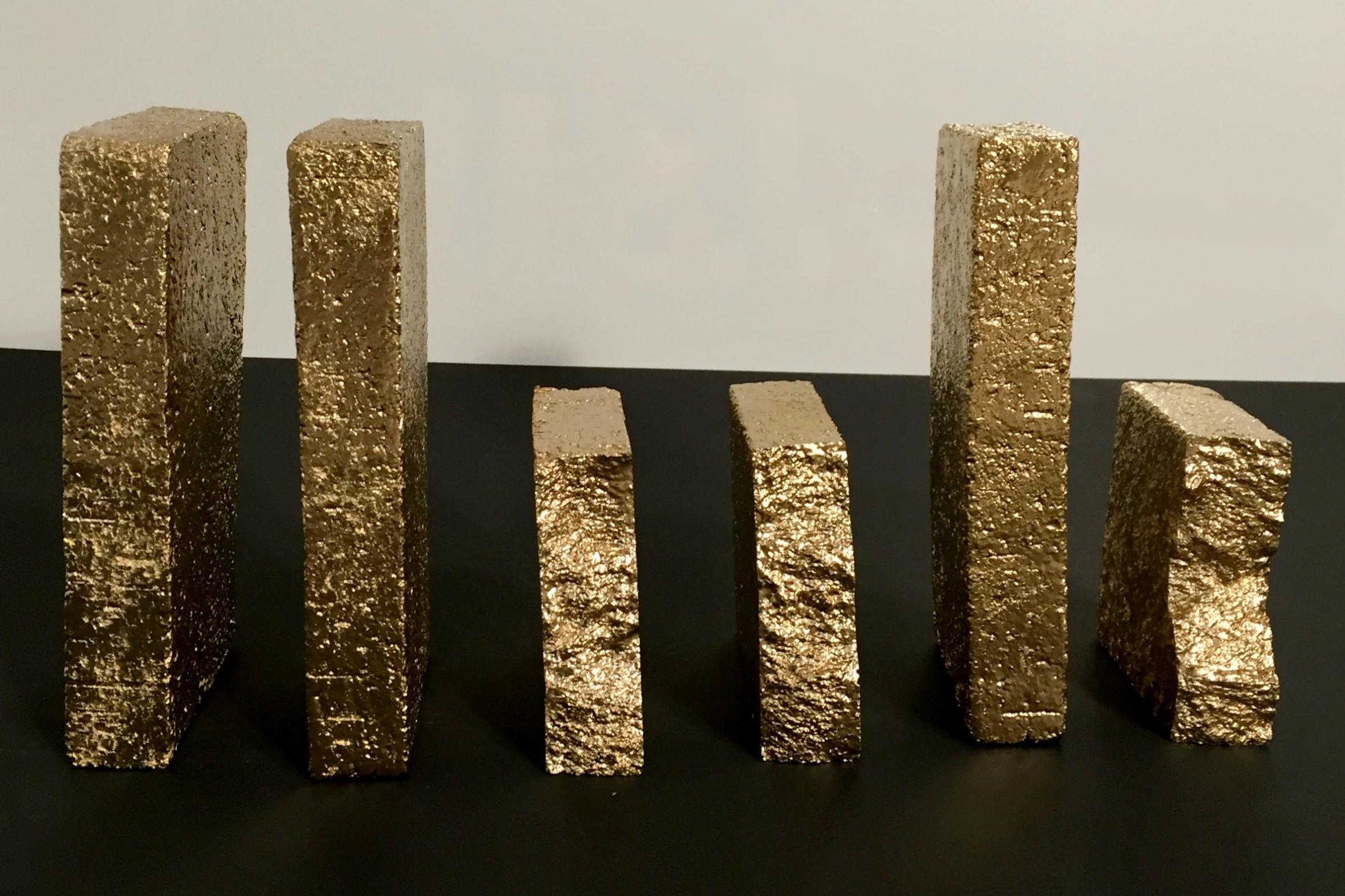 BRICK MxE (Gold) 3+3/2 bricks & acrylic, December 24, 2016